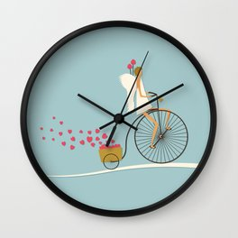 Love Delivery. Cupid on the bike, retro style design Wall Clock