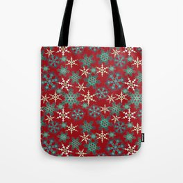 Red blue abstract Christmas decor . Snowflakes . Tote Bag