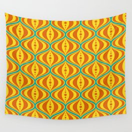Retro Psychedelic Saucer Pattern in Orange, Yellow, Turquoise Wall Tapestry
