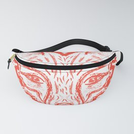 Muzzle foxes. Fox with sideburns, sketch strokes. Fanny Pack