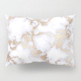 Modern Chic White Gold Foil Marble Pattern Pillow Sham