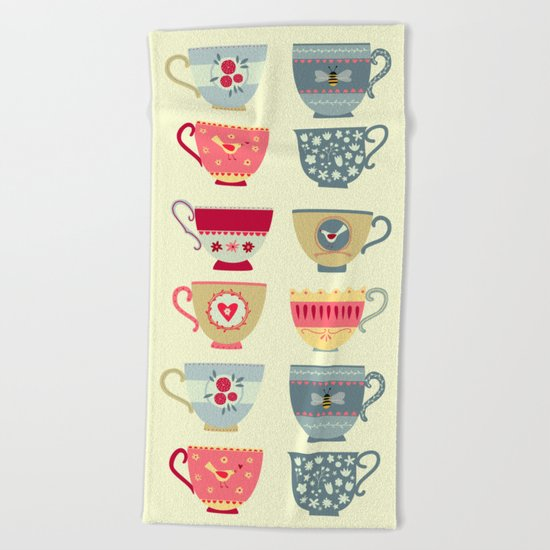 Tea Cups Beach Towel