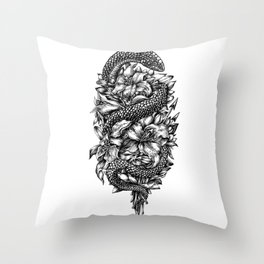 Snake with lilies and arrows (tattoo style) Throw Pillow