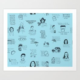 Gilmore Girls Quotes in Blue Art Print