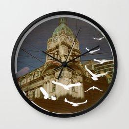 Clock Tower Birds Wall Clock