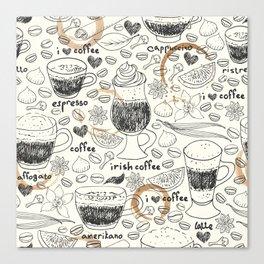 Coffee doodle Canvas Print