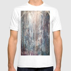 Blue Away White Mens Fitted Tee SMALL