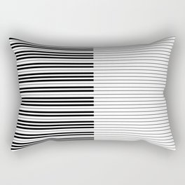 The Piano Black and White Keyboard with Horizontal Stripes Rectangular Pillow