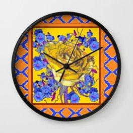 CORAL & BLUE LATTICE & YELLOW ROSE BLUE MORNING GLORY FLOWERS Wall Clock