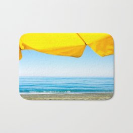 Yellow Beach Brolly with Blue Sea and Sky Bath Mat