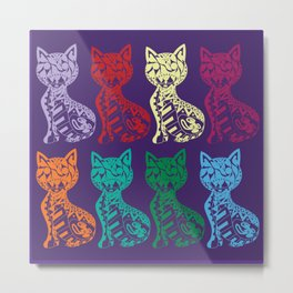 Folk Cats on paper film Metal Print