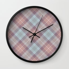 Pink Blue Plaid Rug Pattern Wall Clock