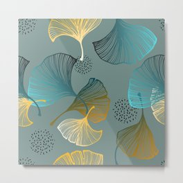 Abstract pattern with Luxury gold Ginkgo on blue background. Exotic botanical design, elegent, luxury, golden, sparkle, glitter background Metal Print