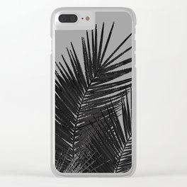 Gray Black Palm Leaves with Black Silver Glitter #1 #tropical #decor #art #society6 Clear iPhone Case