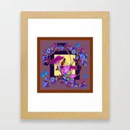 Puce Purple Morning Glories Butterfly Patterns Brown Art Framed Art Print