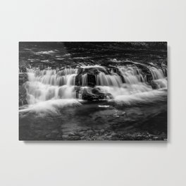 Welsh Waterfall in black and white Metal Print