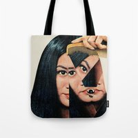 mountain Tote Bags featuring Normalization by Eugenia Loli
