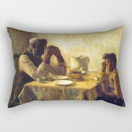 African American Masterpiece 'The Thankful Poor' by Henry Ossawa Tanner Rectangular Pillow