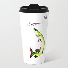 Fishermans Dream Striking Pike (Good luck Kanji ) Travel Mug