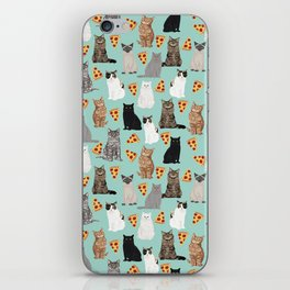 Cats with Pizza slices cheesy food funny cat lover gifts by pet friendly pet portraits iPhone Skin
