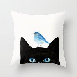 Cat and Bird Throw Pillow