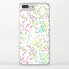 Colorful Easter Flower Pattern - Purple, Pink Green, Blue and Yellow Clear iPhone Case