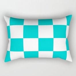 Large Checkered - White and Cyan Rectangular Pillow