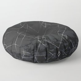 Silver Geometric Modern Pattern Trendy Black Marble III Floor Pillow
