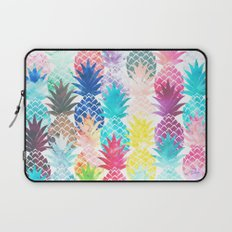 Hawaiian Pineapple Pattern Tropical Watercolor Laptop Sleeve