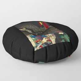Hawks with worrior in Japan Floor Pillow