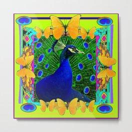 Chartreuse Wildlife Art Blue Peacock & Yellow Butterflies Art Metal Print