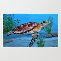sea turtle Area & Throw Rugs featuring Sea turtle  by maggs326