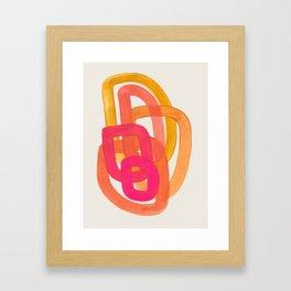 Funky Retro 70' Style Pattern Orange Pink Greindent Striped Circles Mid Century Colorful Pop Art Framed Art Print