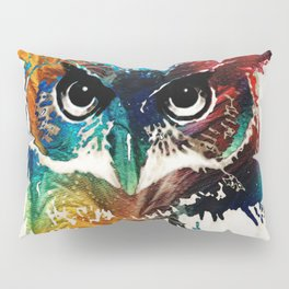 Colorful Owl Art - Wise Guy - By Sharon Cummings Pillow Sham