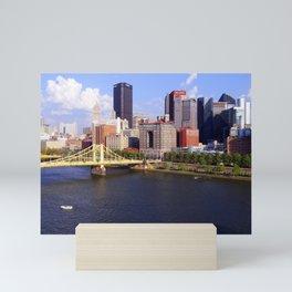 Pittsburgh Skyline, Allegheny River, and Roberto Clemente Bridge Mini Art Print