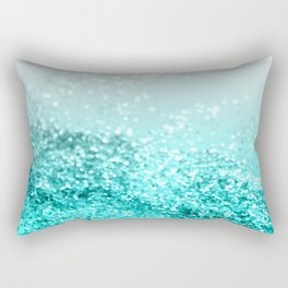 Silver Gray Aqua Teal Ocean Glitter #1 #shiny #decor #art #society6 Rectangular Pillow