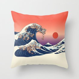 The Great Wave of Dachshunds Throw Pillow