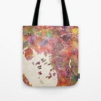oslo Tote Bags featuring Oslo by MapMapMaps.Watercolors