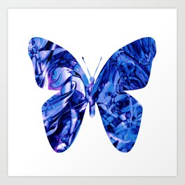 Fluid Butterfly (Blue Version) Art Print