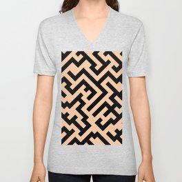 Black and Deep Peach Orange Diagonal Labyrinth Unisex V-Neck