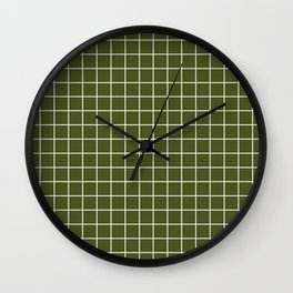 Army green - green color -  White Lines Grid Pattern Wall Clock