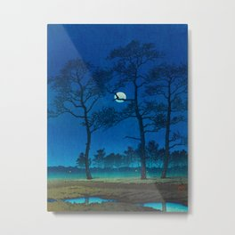 Vintage Japanese Woodblock Print Three Tall Trees At Night Forest Field Landscape Metal Print