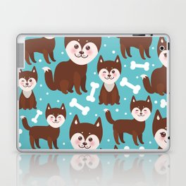 funny brown husky dog and white bones, Kawaii face with large eyes and pink cheeks blue background Laptop & iPad Skin