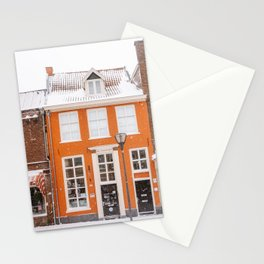 Orange Winter House in the Snow | Travel & City Photography in Hanzestad the Netherlands, Europe Stationery Cards
