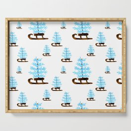 Blue Coastal Christmas Tree on Sleigh Serving Tray