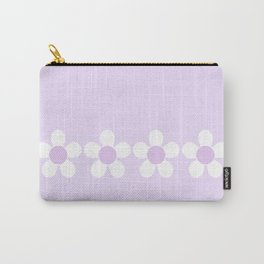 Spring Daisies - Geometric Design in Lilac Purple & White Carry-All Pouch