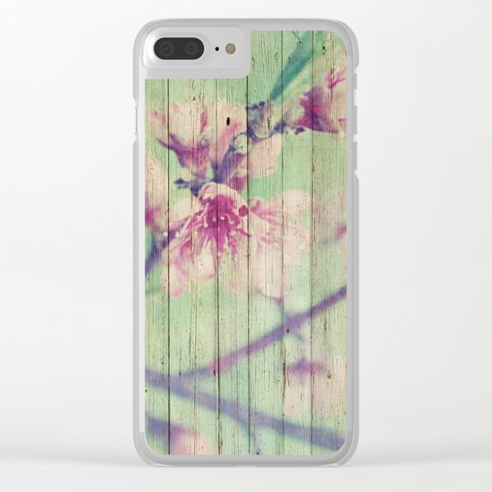 Sweet Flowers on Wood 05 Clear iPhone Case
