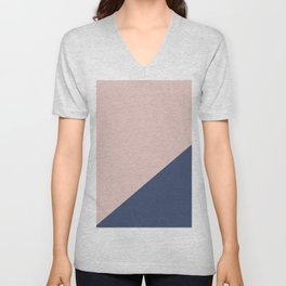 Soft Pink Plus Dark Blue - oblique Unisex V-Neck