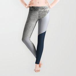 Modern minimalist navy blue grey and silver foil geometric color block Leggings