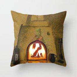 Kiva Fireplace Full On Throw Pillow